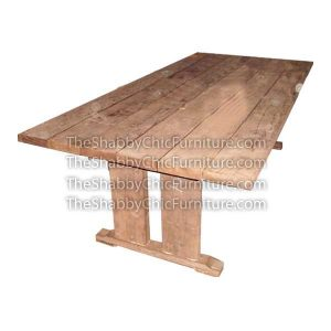 Manhattan Slatted Top and Straight Legs Dining Table